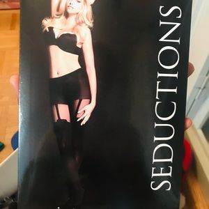 NWT - Black Stockings with Garter Detail
